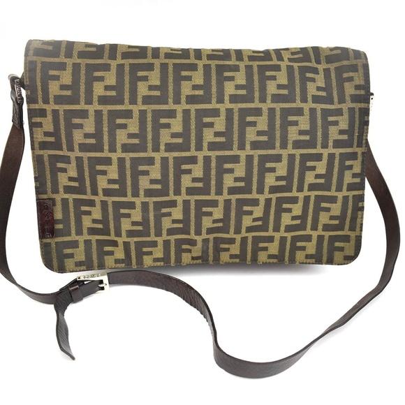 c2e9bf54d2fe FENDI Zucca Brown Leather FF Logo Messenger Bag nt